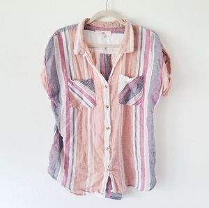 Thread And Supply Pink Salmon Striped Button Up L